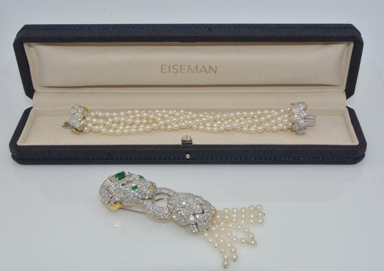 David Webb Lion Diamond and Pearl Strand Bracelet and Brooch For Sale 11