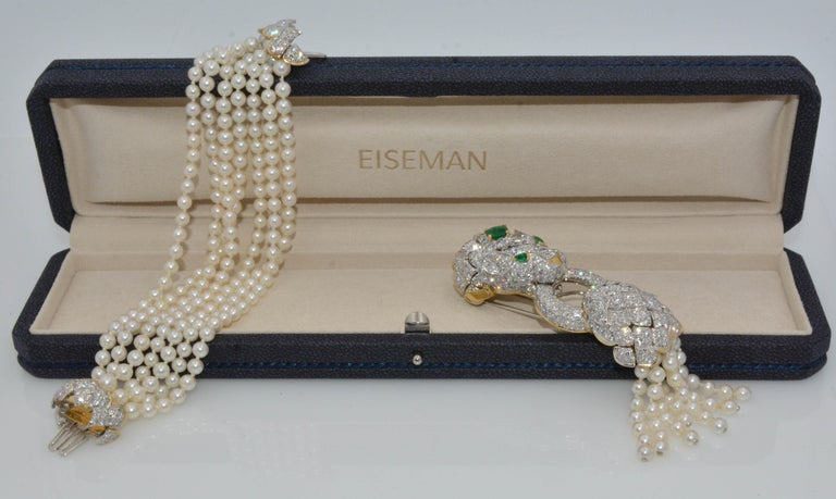 David Webb Lion Diamond and Pearl Strand Bracelet and Brooch For Sale 10