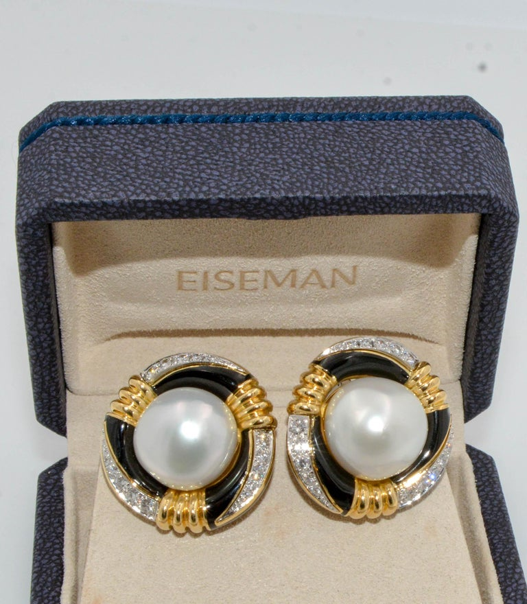 Round Cut David Webb 18 Karat Gold and Platinum South Sea Pearl, Enamel, Diamond Earrings For Sale