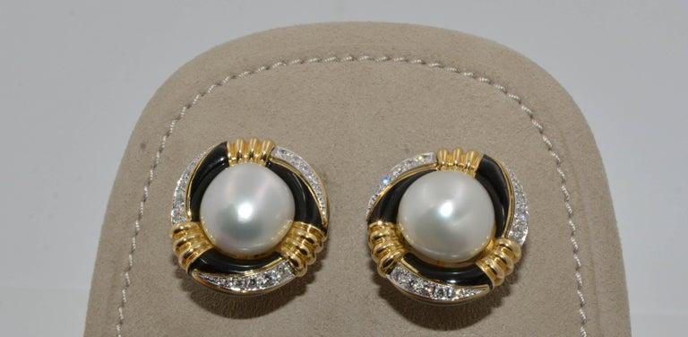 Modern David Webb 18 Karat Gold and Platinum South Sea Pearl, Enamel, Diamond Earrings For Sale