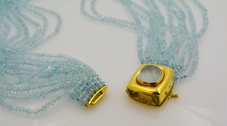 Mazza Company 18 Karat Gold Aquamarine Strand Cabochon Clasp Bracelet/Necklace 5