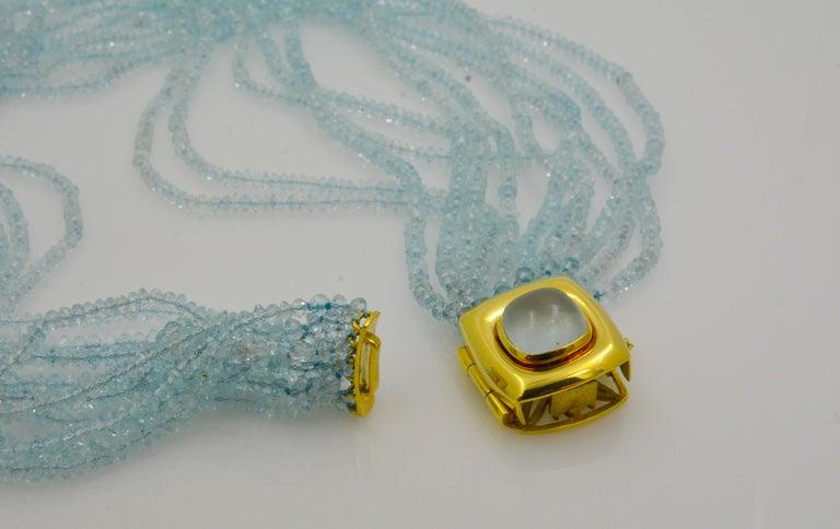 Mazza Company 18 Karat Gold Aquamarine Strand Cabochon Clasp Bracelet/Necklace 4