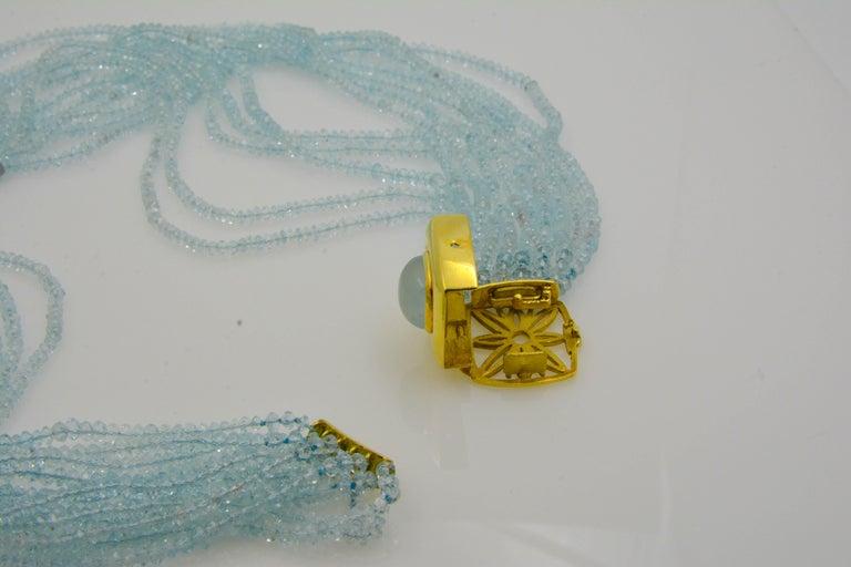 Mazza Company 18 Karat Gold Aquamarine Strand Cabochon Clasp Bracelet/Necklace 3