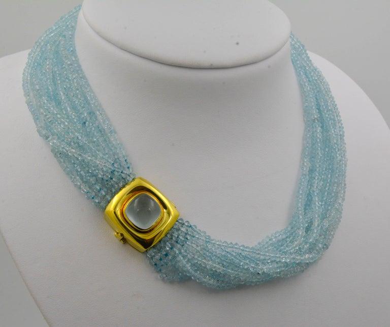 Mazza Company 18 Karat Gold Aquamarine Strand Cabochon Clasp Bracelet/Necklace 2