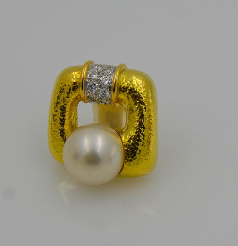 Modern David Webb 18 Karat Yellow Gold and Platinum South Sea Pearl Diamond Earrings For Sale