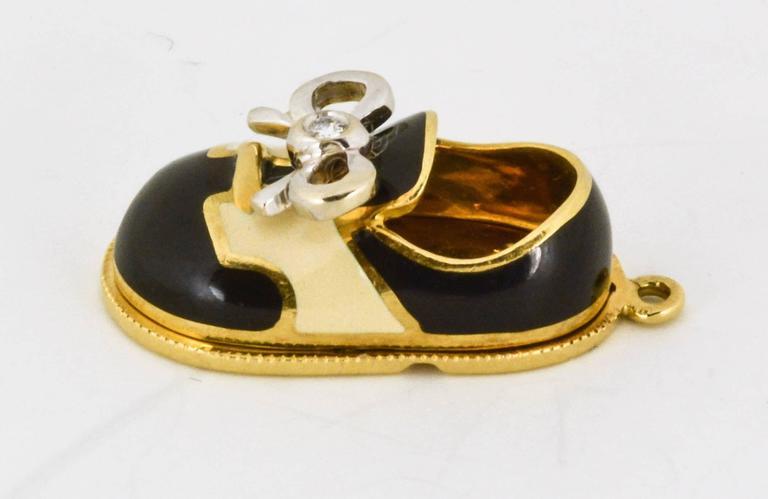 Aaron Basha black and white enamel gold baby shoe charm at