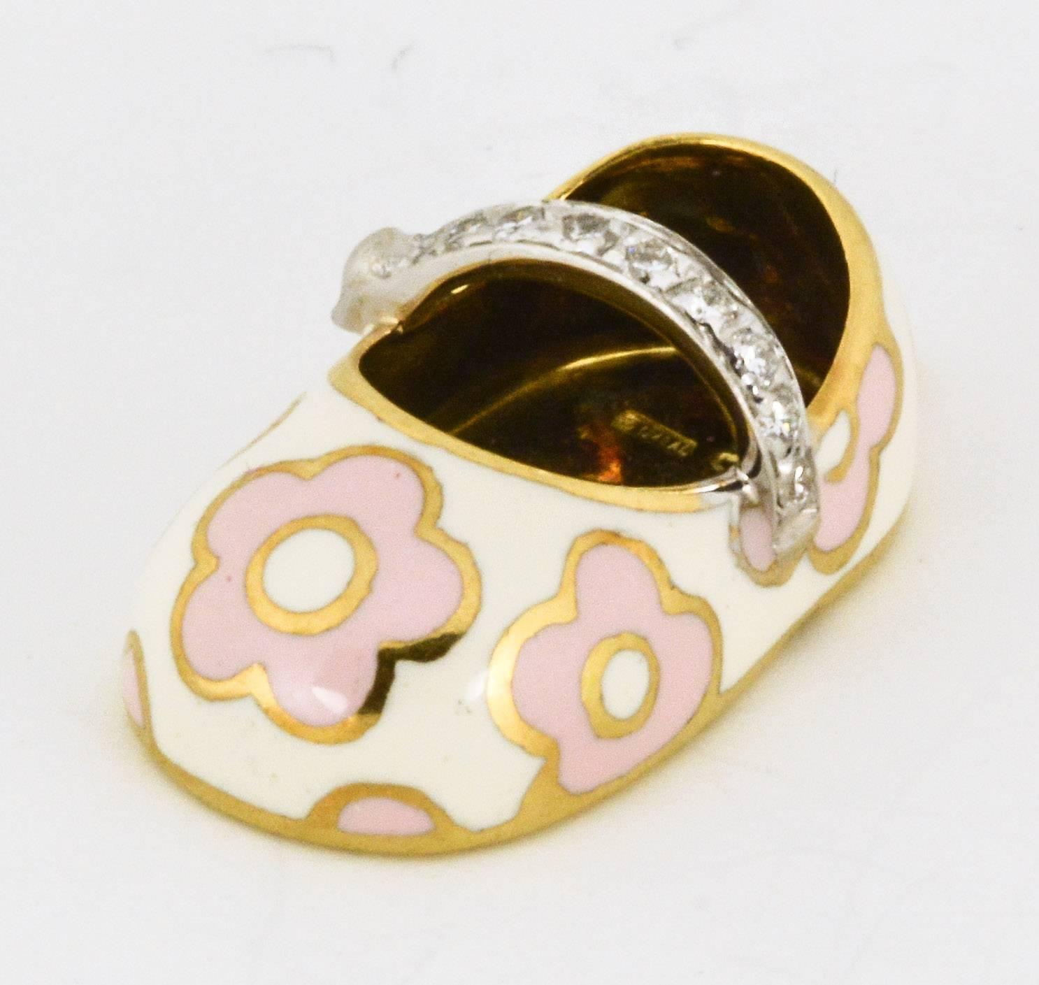 aaron basha enamel diamond gold baby shoe at 1stdibs