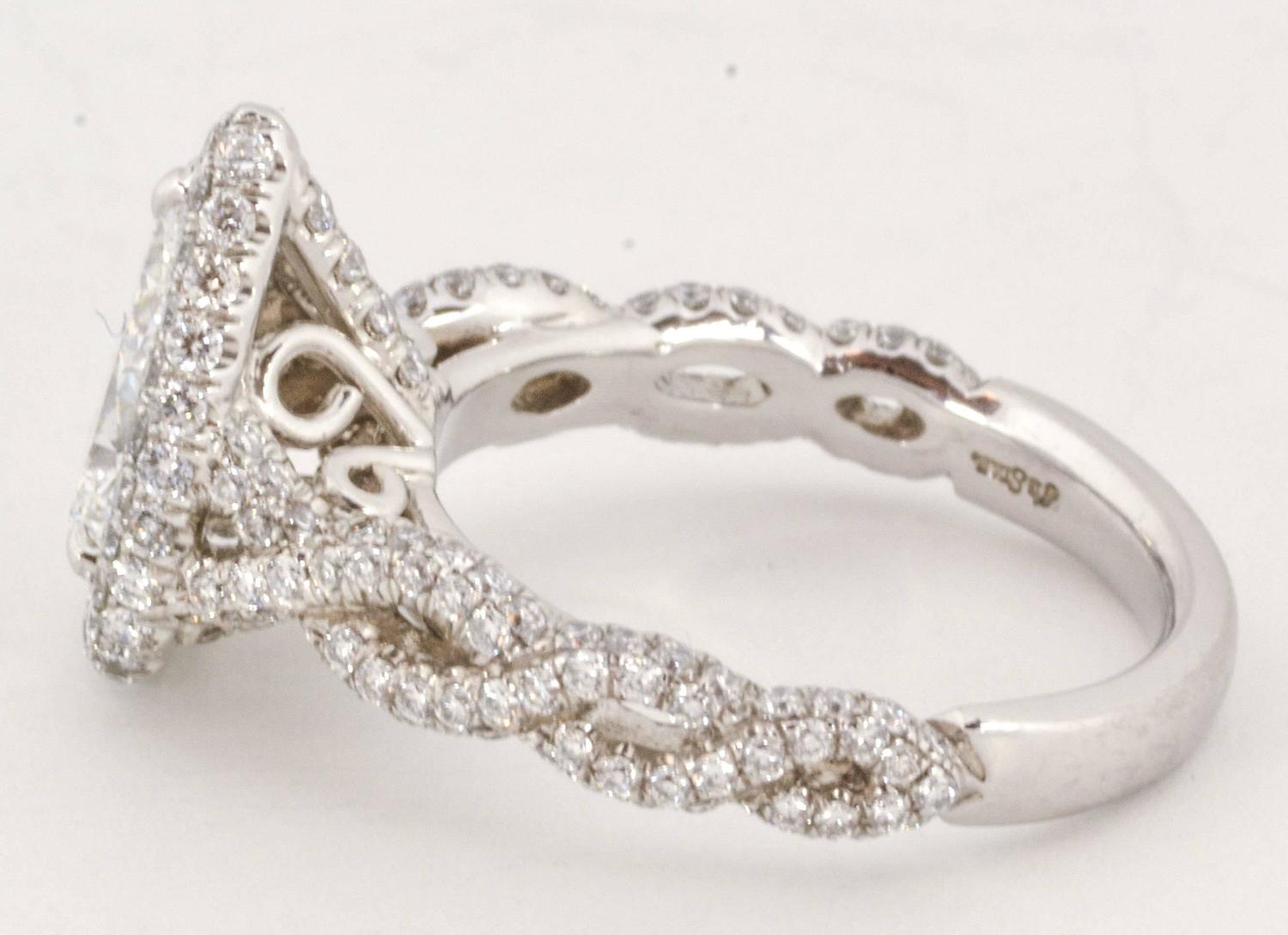 1 38 Carat Pear Shaped Diamond Platinum Engagement Ring For Sale at 1stdibs