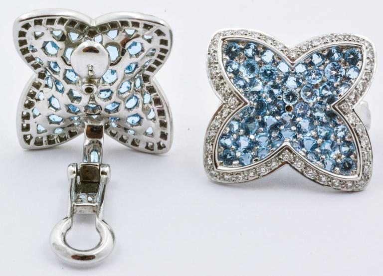 Rodney Rayner Blue Topaz Diamond Gold Star Clip-On Eiseman Jewels Earrings In As new Condition For Sale In Dallas, TX