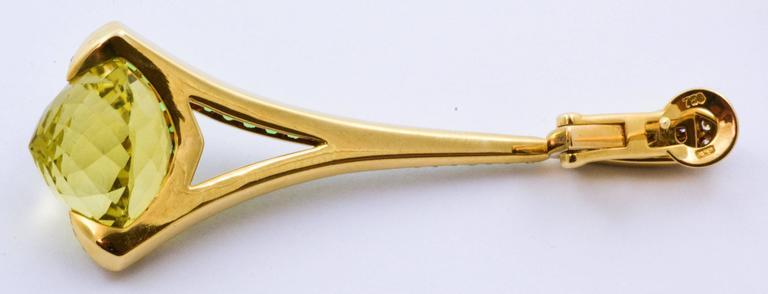 Rodney Rayner Tsavorite 28.24 ct  Lime Quartz Diamond Gold Rocket Earrings 2