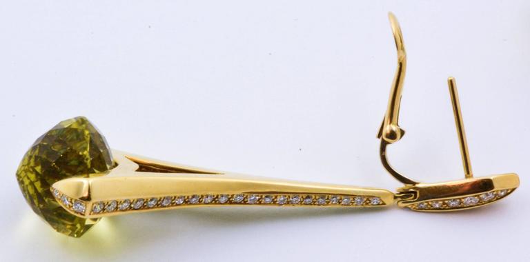 Rodney Rayner Tsavorite 28.24 ct  Lime Quartz Diamond Gold Rocket Earrings 4