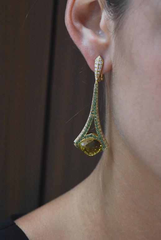 Rodney Rayner Tsavorite Lime Quartz Diamond Gold Rocket Earrings 5