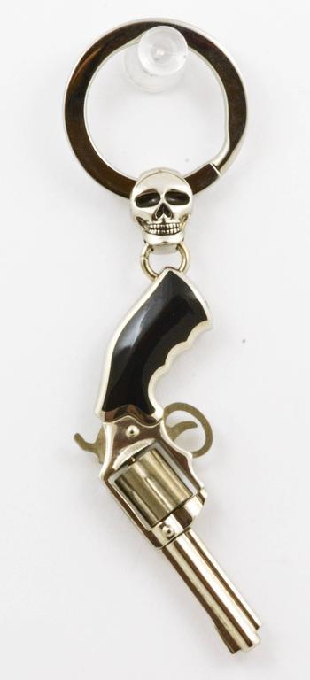 zancan black enameled sterling silver palladium gun key ring  stdibs