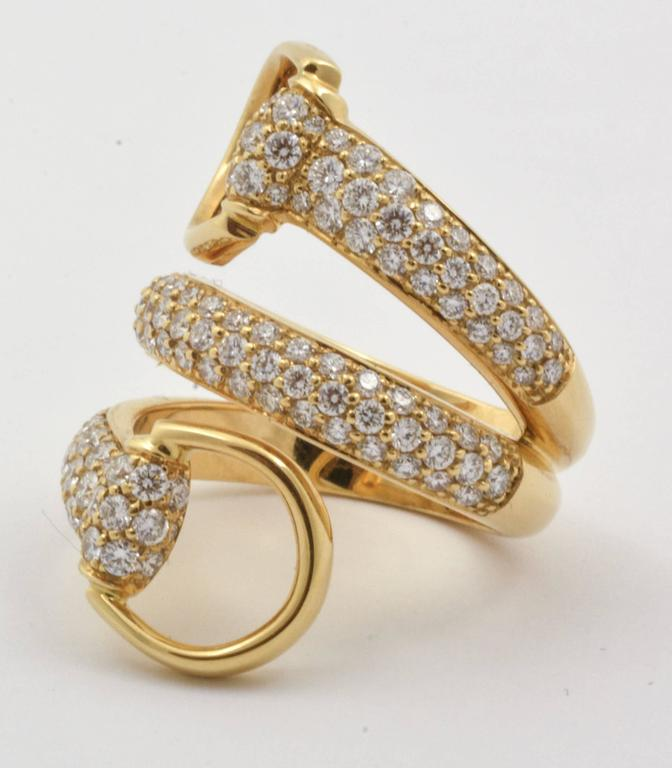 Diamond Gold Horse Bit Ring at 1stdibs