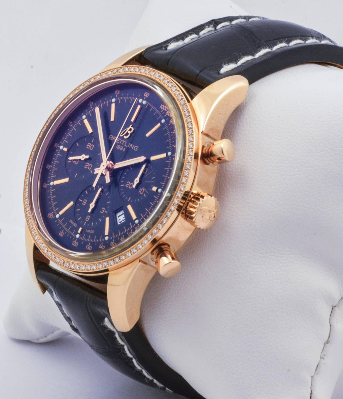 Breitling Rose Gold Diamond Bezel Transocean Chronograph ...