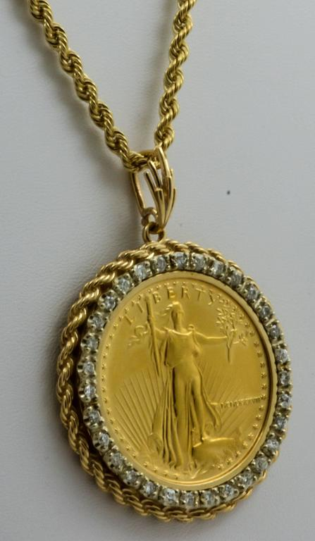 50 Liberty 1 Ounce Gold Coin Pendant With Diamond Bezel