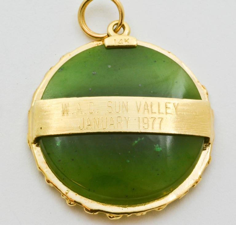 Modern Jade Gold Mountain Scene Charm For Sale