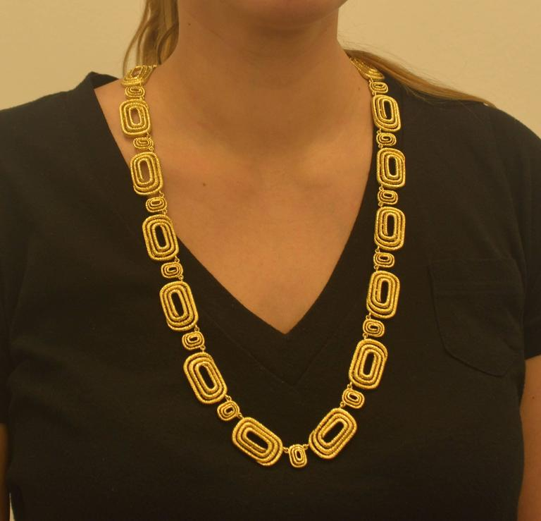 Architectural Engraved Gold Necklace 5