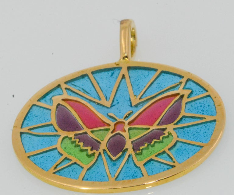 Modern Plique a Jour Glass Enameled Butterfly 18 Karat Yellow Gold Pendant For Sale