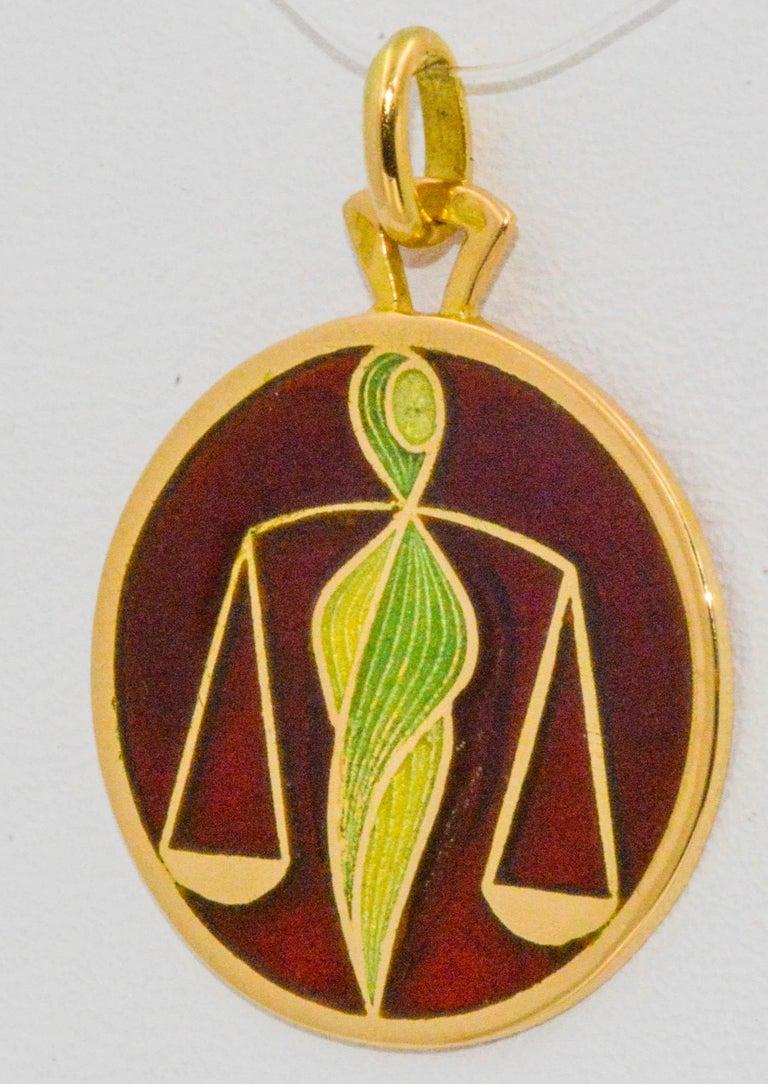 Women's or Men's Plique a Jour Libra 18 Karat Yellow Pendant For Sale