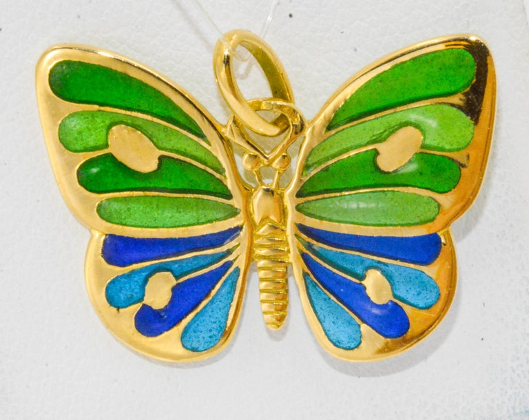 Plique a Jour Glass Enameled Butterfly 18 Karat Yellow Gold In New Condition For Sale In Dallas, TX