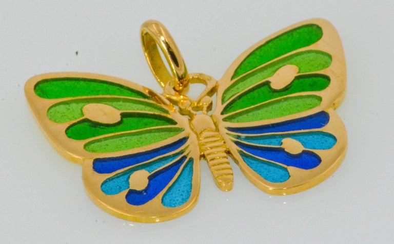 Women's Plique a Jour Glass Enameled Butterfly 18 Karat Yellow Gold For Sale
