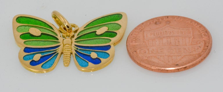 Plique a Jour Glass Enameled Butterfly 18 Karat Yellow Gold For Sale 1
