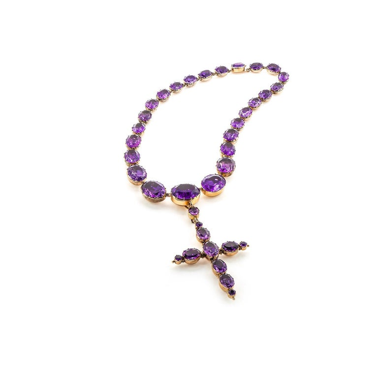 Georgian Era 15K Yellow Gold 158ctw Amethyst Convertible Cross Necklace  In Excellent Condition For Sale In Dallas, TX