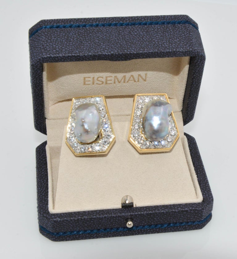 Modern David Webb 18 Karat Gold and Platinum Baroque Pearls and Diamond Stud Ears For Sale