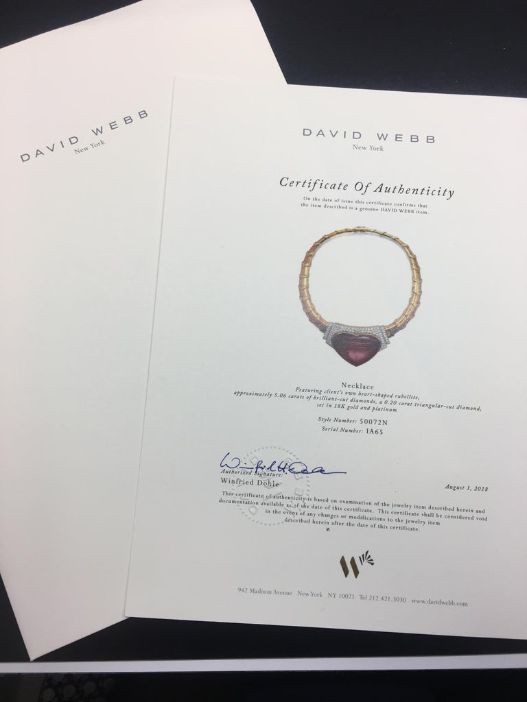 David Webb 18 Karat Gold and Platinum Heart Rubellite with Diamonds Necklace For Sale 2
