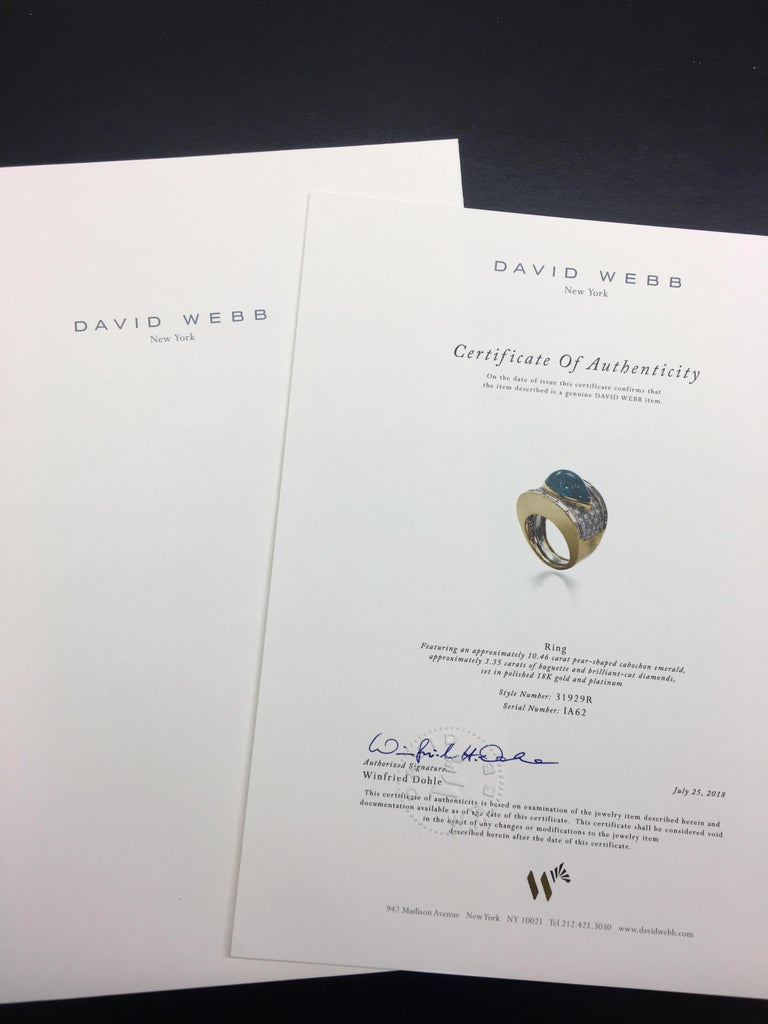 David Webb 18 Karat Gold and Platinum Pear Cabochon Emerald with Diamonds Ring For Sale 1