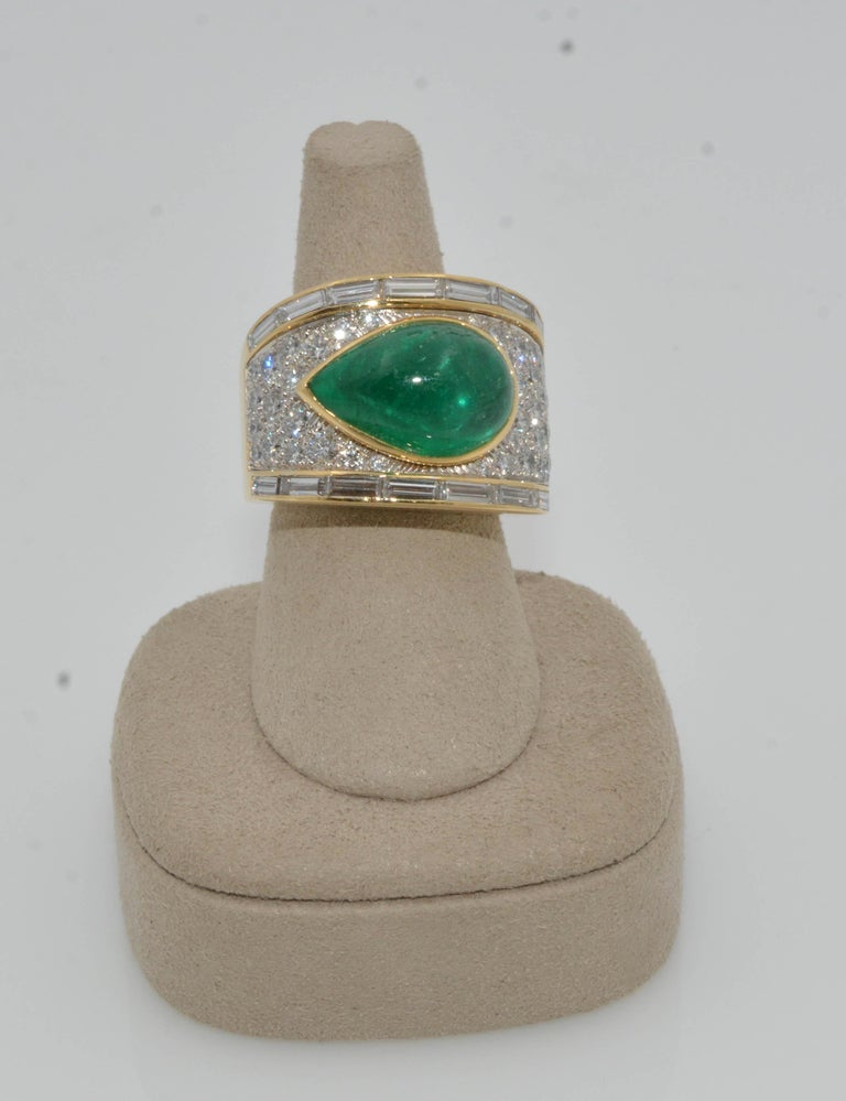 Modern David Webb 18 Karat Gold and Platinum Pear Cabochon Emerald with Diamonds Ring For Sale