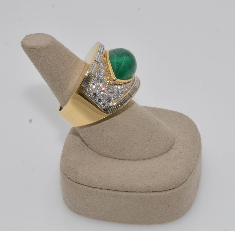 Pear Cut David Webb 18 Karat Gold and Platinum Pear Cabochon Emerald with Diamonds Ring For Sale