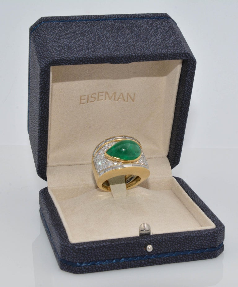 Women's David Webb 18 Karat Gold and Platinum Pear Cabochon Emerald with Diamonds Ring For Sale