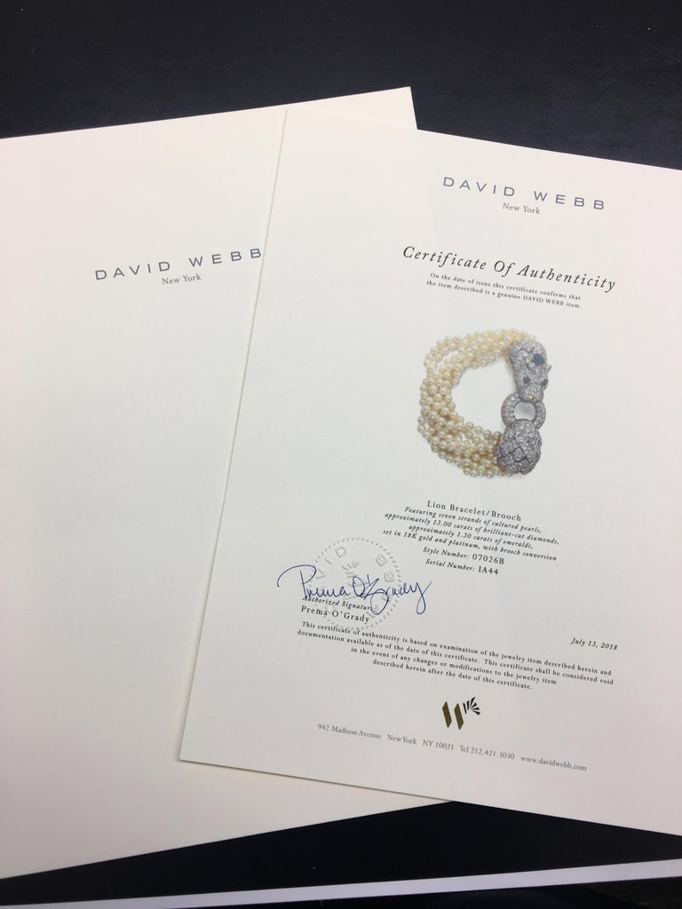 David Webb Lion Diamond and Pearl Strand Bracelet and Brooch For Sale 9