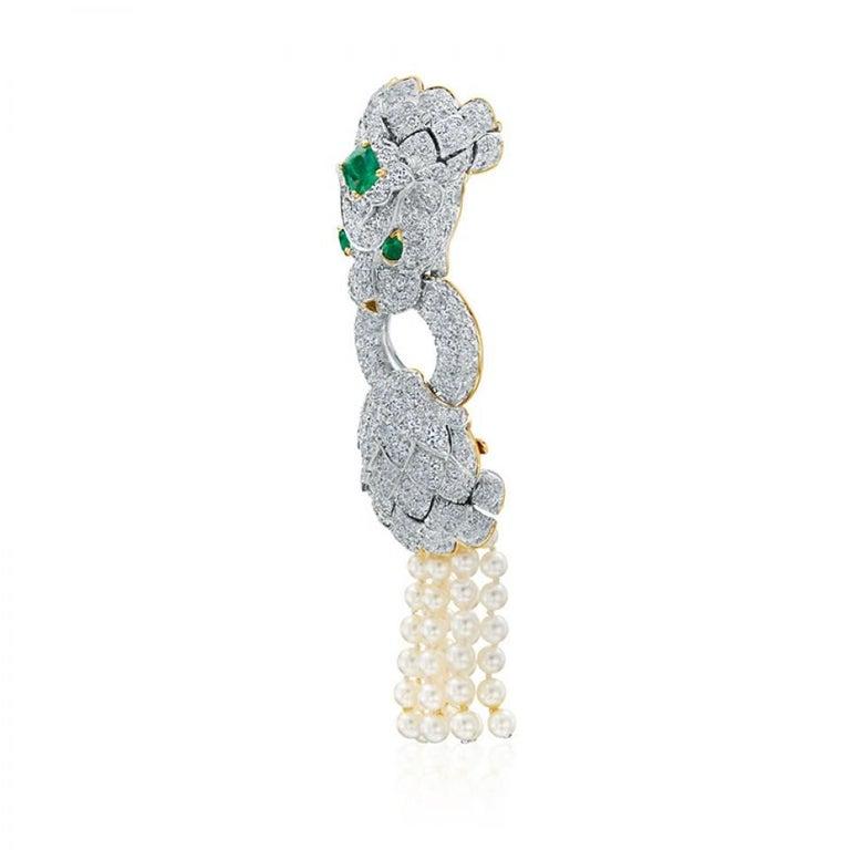 Modern David Webb Lion Diamond and Pearl Strand Bracelet and Brooch For Sale