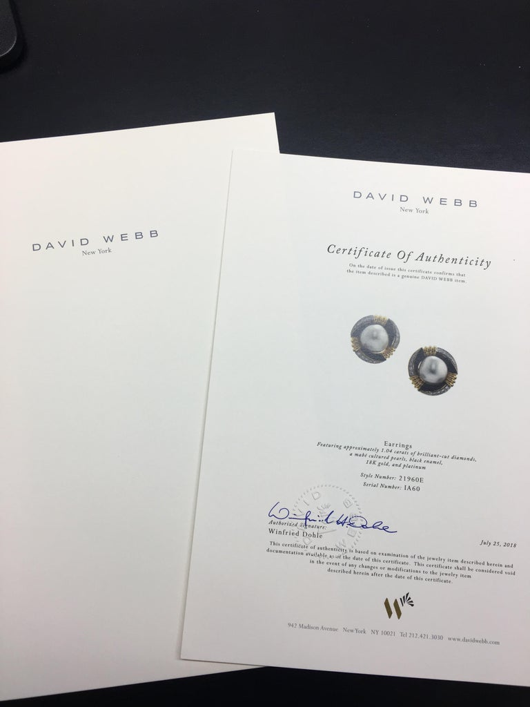 David Webb 18 Karat Gold and Platinum South Sea Pearl, Enamel, Diamond Earrings In Excellent Condition For Sale In Dallas, TX