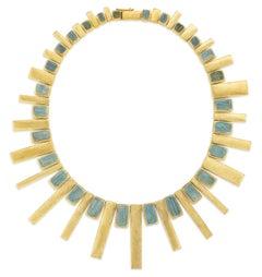 Burle Marx 18 Karat Yellow Gold 135.0 Carat Aquamarine Necklace