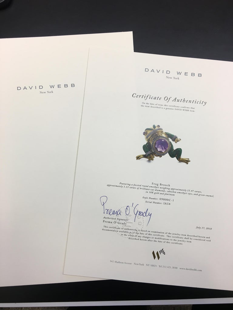 David Webb 18 Karat Gold and Platinum 15.74 Carat Amethyst and Diamond Frog Pin In Excellent Condition For Sale In Dallas, TX