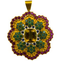 Buccellati Multi-Color Gemstone Floral Pendant and Brooch