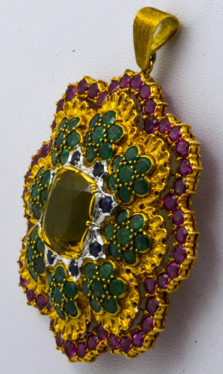 Buccellati Multi-Color Gemstone Floral Pendant and Brooch In Excellent Condition In Dallas, TX