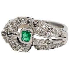 Emerald and Diamond Palladium Fashion Ring