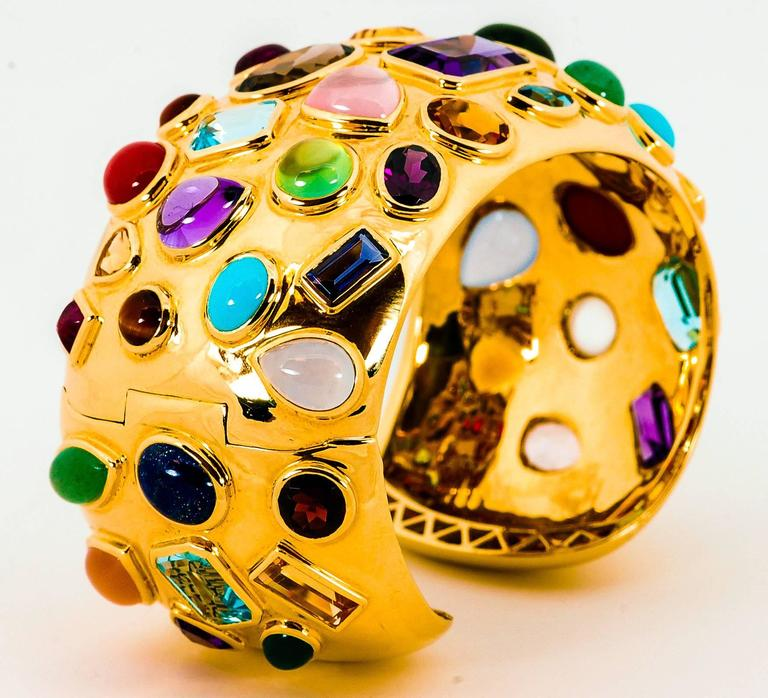 1950s Seaman Schepps Multicolored Stone Gold Cuff Bracelet 2