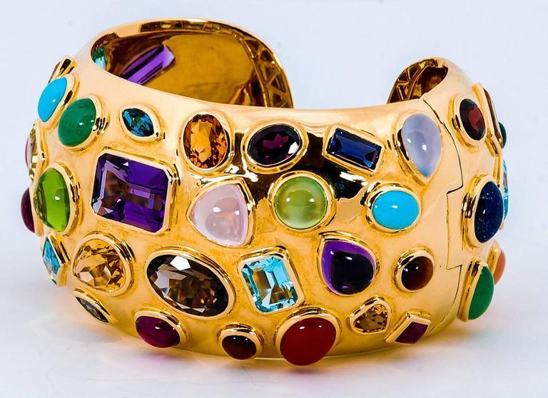 1950s Seaman Schepps Multicolored Stone Gold Cuff Bracelet 3