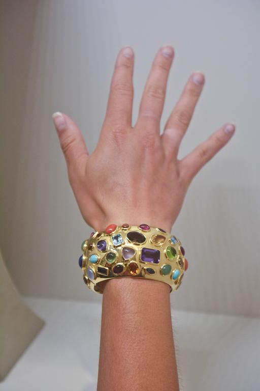 1950s Seaman Schepps Multicolored Stone Gold Cuff Bracelet 5