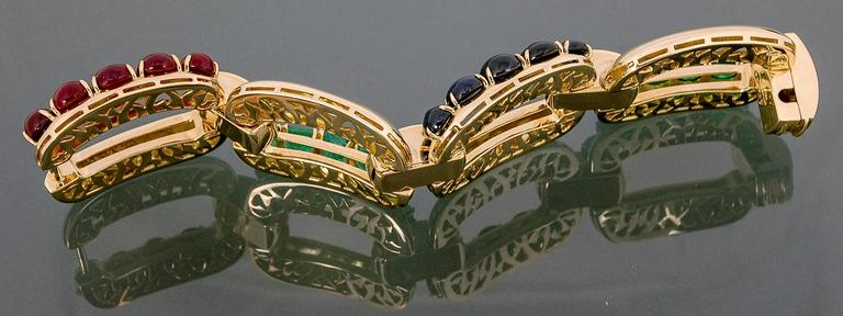 Modern Seaman Schepps Emerald Ruby Sapphire Diamond Gold Link Bracelet For Sale
