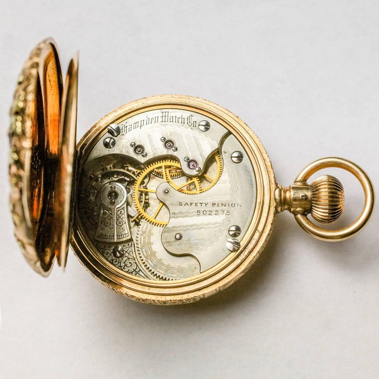 Hampden Multi-Color Gold Large Antique Pocket Watch In Excellent Condition For Sale In New York, NY