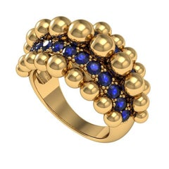 Melody Deldjou Fard 18 Karat Yellow Gold and Sapphire Ring