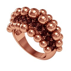 Melody Deldjou Fard & Sparkles 18 Karat Rose Gold and Black Diamond Ring