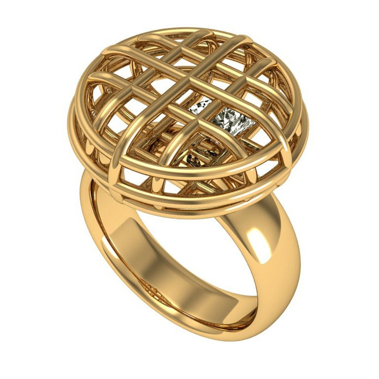 Lidy Peters & Sparkles Diamond and Gold Ring For Sale